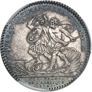 """Amérique-Canada (colonies françaises), Louis XV (1715-1774). Jeton """"PARAT ULTIMA TERRA TRIUMPHOS"""" par F. Marteau 1757, Paris."""