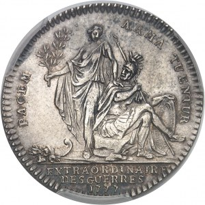 """Louis XVI (1774-1792). Jeton """"PACEM ARMA TUENTUR"""", soutien militaire à l'Amérique indépendante, non signé 1777, Paris."""