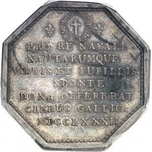 Louis XVI (1774-1792). Jeton, don du clergé pour la flotte d'aide aux indépendantistes américains, 2e type par Duvivier 1782, Paris.
