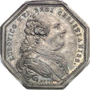 Louis XVI (1774-1792). Jeton, don du clergé pour la flotte d'aide aux indépendantistes américains, 3e type par Duvivier 1782, Paris.