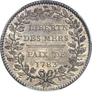 Louis XVI (1774-1792). Jeton Liberté des mers et Traité de Versailles par Gatteaux 1783, Paris.