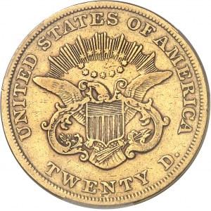 République fédérale des États-Unis d'Amérique (1776-à nos jours). 20 dollars Liberty, sans devise 1853/'2', Philadelphie.