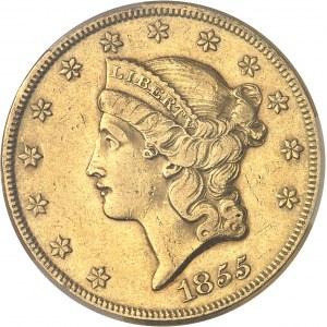 République fédérale des États-Unis d'Amérique (1776-à nos jours). 20 dollars Liberty, sans devise 1855, Philadelphie.