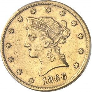 République fédérale des États-Unis d'Amérique (1776-à nos jours). 10 dollars Liberty, sans devise 1866, S, San Francisco.