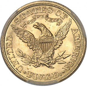 République fédérale des États-Unis d'Amérique (1776-à nos jours). 5 dollars Liberty 1882, Philadelphie.