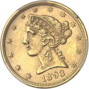 République fédérale des États-Unis d'Amérique (1776-à nos jours). 5 dollars Liberty 1893, Philadelphie.