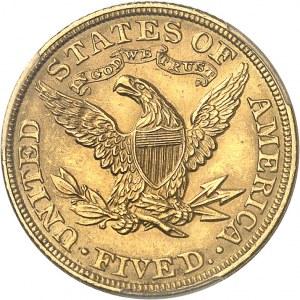 République fédérale des États-Unis d'Amérique (1776-à nos jours). 5 dollars Liberty 1902, Philadelphie.