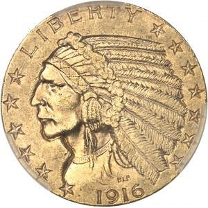République fédérale des États-Unis d'Amérique (1776-à nos jours). 5 dollars Indien 1916, S, San Francisco.
