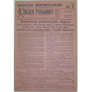 Kur. Por. - Odwołanie Posiedzenia Sejmu, 30.10.1926