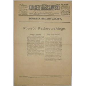 Kurjer Warszawski - Powrót Paderewskiego, 11 maja 1919