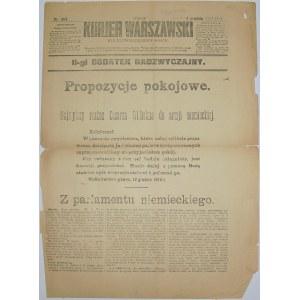 Kurjer Warszawski- Niemcy Oferują Pokój, 12 grudnia 1916