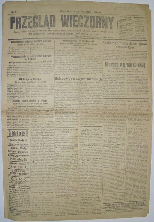 Przegląd Wieczorny - Wojna Polsko-Bolszewicka, 13.01.1920