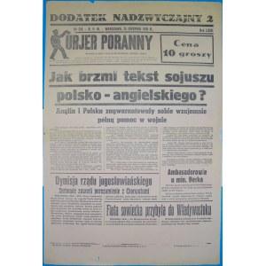 Kurjer Poranny - Sojusz Polsko-Angielski, 25.08.1939