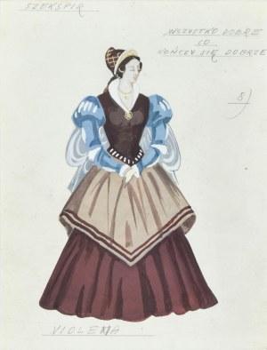 """Jerzy FELDMANN (1909-1987), Violena – projekt kostiumu do sztuki Szekspira """"Wszystko dobre co kończy się dobrze"""""""