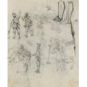 Stanisław KAMOCKI (1875-1944), Szkice żołnierzy, spotkanie ułanów, ułan na koniu, szkice umundurowania, 1894(?)