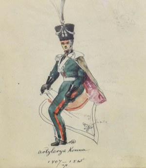 Stanisław KAMOCKI (1875-1944), Szkice umundurowania oficera 11. pułku ułanów Księstwa Warszawskiego, ok. 1894
