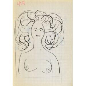 Jerzy PANEK (1918-2001), Popiersie nagiej kobiety o bujnych włosach, 1963