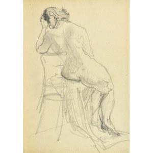 Kasper POCHWALSKI (1899-1971), Naga siedząca kobieta na krześle - ujęcie od tyłu, 1953