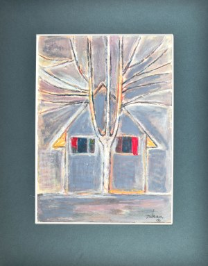 Eugeniusz TUKAN - WOLSKI (1928-2014), Drzewo na tle chaty
