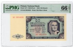20 złotych 1948 - seria KC - PMG 66 EPQ