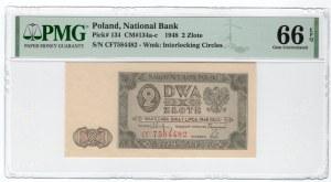2 złote 1948 - seria CF - PMG 66 EPQ