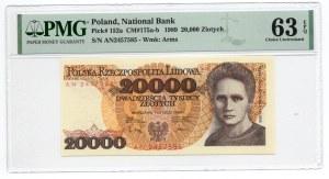 20.000 złotych 1989 - seria AN - PMG 63 EPQ