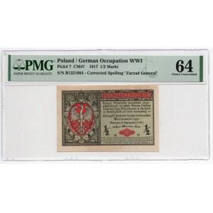 1/2 marki 1916 Generał - seria B - PMG 64