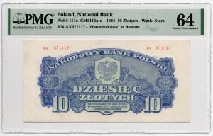 10 złotych 1944 - obowiązkowe - seria Ax - 1944 - PMG 64