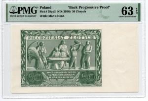 50 złotych 1936 - RZADKI - awers czysty rewers bez jasnopomarańczowego poddruku oraz numeracji - PMG 63 EPQ
