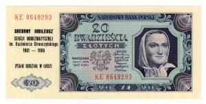 20 złotych 1948 - seria KE - z nadrukiem okolicznościowym