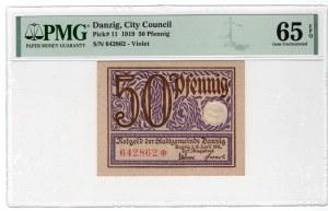 GDAŃSK / DANZIG - 50 fenigów 1919 - PMG 65 EPQ