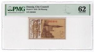 GDAŃSK / DANZIG - 50 fenigów 1918 - PMG 62
