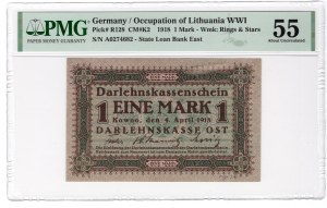 KOWNO - 1 marka 1918 - seria A - PMG 55