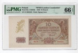 10 złotych 1940 - seria N. - WWII London Counterfeit - PMG 66 EPQ