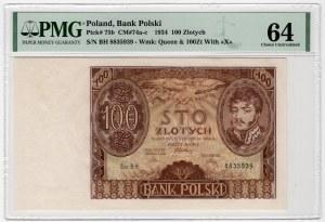 100 złotych 1934 - seria BH - PMG 64 - dodatkowy znak wodny +X+