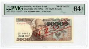 WZÓR/SPECIMEN - 50.000 złotych 1989 - seria A - PMG 64 EPQ
