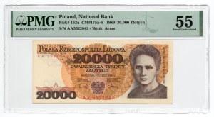 20 000 złotych 1989 - seria AA - PMG 55