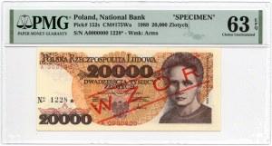 WZÓR/SPECIMEN - 20.000 złotych 1989 - seria A - PMG 63 EPQ