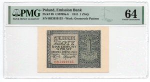 1 złoty 1941 - seria BB - PMG 64
