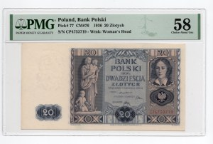 20 złotych 1936 - seria CP - PMG 58