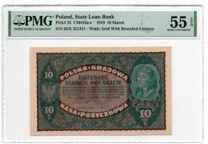 10 Marek 1919 - II Serja DX - PMG 55 EPQ