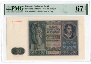 50 złotych 1941 - seria A - PMG 67 EPQ - 2-ga max nota