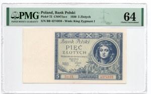5 złoty 1930 - seria BB - PMG 64
