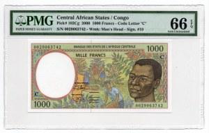 Afryka Centralna - 1000 Franków 2000 - PMG 66 EPQ