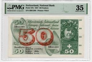 Szwajcaria - 50 Franków 1957 - PMG 35