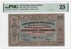 Szwajcaria - 20 franków 1927 - PMG 25
