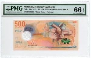 Malediwy - 500 Rufiyaa 2015 - PMG 66 EPQ