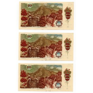 CZECHOSŁOWACJA - Zestaw 3 sztuk 10 koron 1986