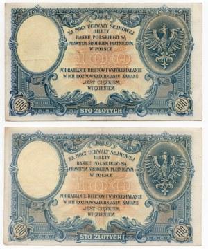 Zestaw 2 sztuk - 100 złotych 1919 - Seria S.C, S.B.