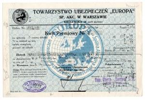 Towarzystwo Ubezpieczeń Europa S.A. w Warszawie - Kwit Premjowy nr 1 z 1932 roku